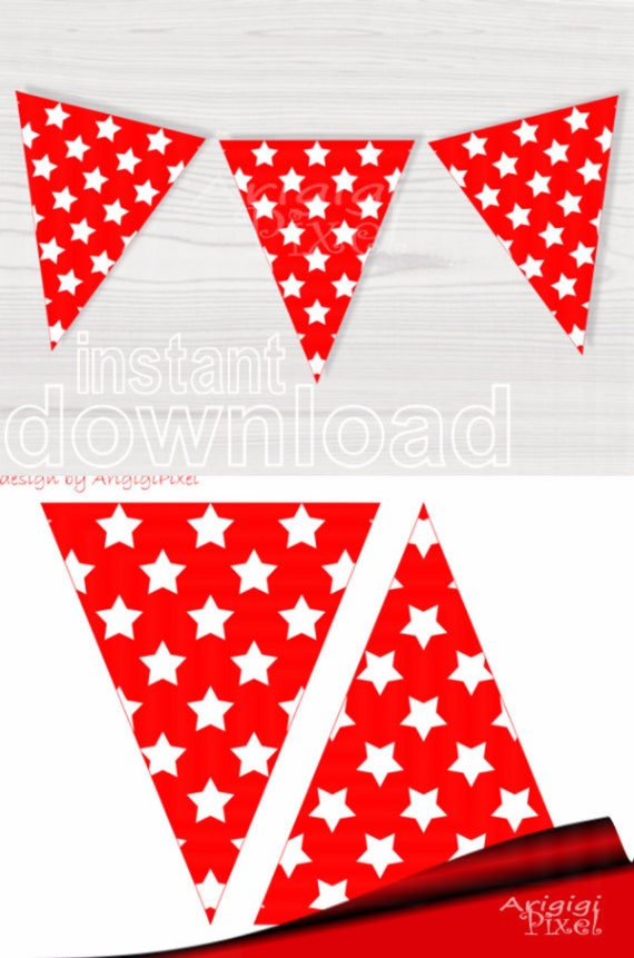 Red printable bunting banner with stars for DIY party decoration