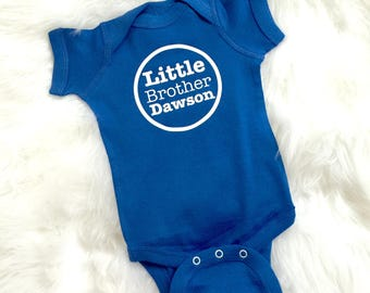 LITTLE Brother Onesie with OPTIONAL Name New Baby Announcement Sibling Shirts