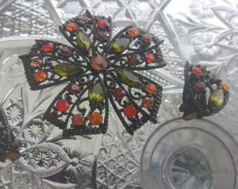 Black Enamel & Colorful Rhinestone Flower Brooch and Earring Set
