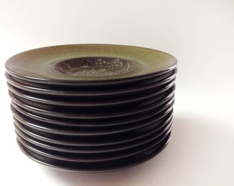 4 Franciscan Madeira Coffee, Tea Saucers, Dark Brown, Olive, Avocado Green California Pottery Small Plates, Saucers, Set of 4