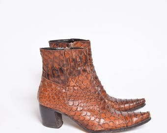 Vintage 90's Brown Alligator Ankle Boots with Side Zippers