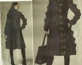 Vogue 1213 Princess Seam Scallop Detail Lined A-Line Coat Sewing Pattern Size 14 - 16 - 18 - 20 Plus Size