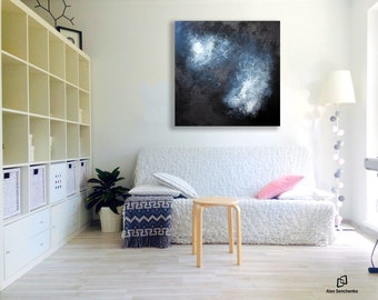black and white painting / abstract wall art / abstract decor / abstract painting / abstract / large painting /  Artist Alex Senchenko