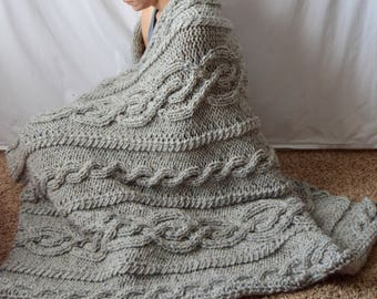 Gray Chunky Wool Blend Knitted Blanket, Silver Grey Throw Blanket, Cable Knit Afghan, Celtic Aran Knit, Housewarming Wedding Gift