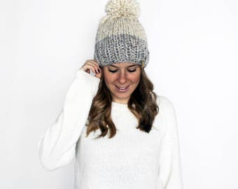 Knitted Hat Pom Pom Slouchy Grey Wheat- Annapolis Hat