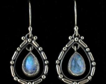Rainbow Moonstone Teardrop Earrings: SARAH