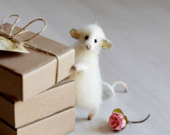 Mouse art doll sculpture festive mouse gift mouse home decoration mouse doll mouse toy felting mouse animal lover gift birthday gift ideas