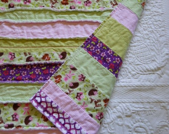 Baby Girl Flannel Rag Quilt features Woodland Animals in Pinks, Greens and Purples / Lap Rag Quilt