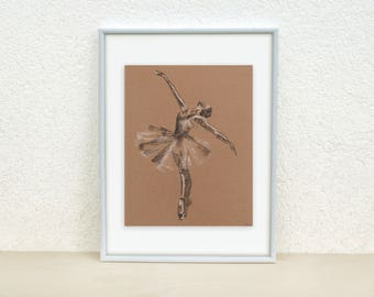 Ballerina drawing. Ballerina illustration. Ballet Dancer drawing. Minimal ballet art. Ballerina charcoal drawing. Original ballet art. 8x10