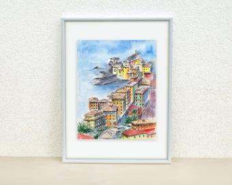 Italy Watercolor painting. Camogli painting. Italy wall art. Italy art. Town sketch. Italy painting Landscape watercolor. Original art 8x10