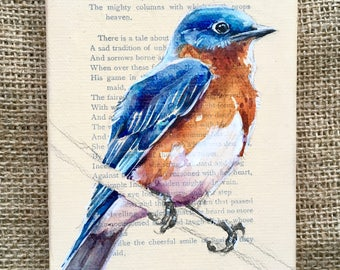 Eastern Bluebird Painting on Antique Book Paper