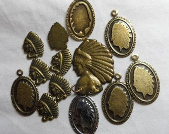 """Vintage gold plate brass indian head charms,1/2""""-1"""",13pcs-"""