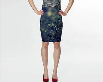 Fitted Skirt, Pencil Skirt, Skater Skirt, Teen Clothing, Blue Green Skirt, Reversible Skirt, Pine Needle Skirt, Spandex Mini Skirt