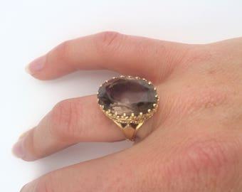 Vintage Smokey Topaz and 14K Gold Ring