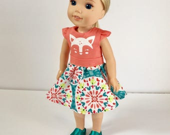 Dress made to fit Wellie Wisher dolls. Deer face doll dress. 14 inch doll deer dress. Coral and print dress. Handmade. Gift for girls.