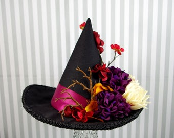 Black, Purple, Red, and Cream Autumn Flower Mini Witch Hat, Halloween, Festival Hat, Derby Hat