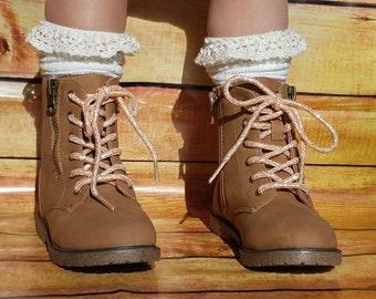 Girls Boot Socks Ivory Cream Boot Socks, Toddler Boot Socks, Girls Lace Top Knee Socks, Lace Boot Sock, Cable Knit Knee High Socks