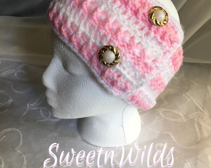 Big Crocheted Headband-Womens Earwarmers -Fall Accessories -READY TO SHIP-Christmas Gift Ideas-Flowers-Gold and Pearls-Pink and White