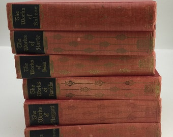 5 Vintage Red Books, Book Lot, Antique Books, Home Decor, Decorative Books, Poems Stories, Hawthorne, Stevenson, Hugo