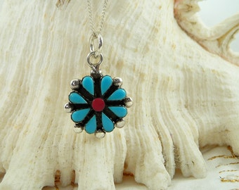Small Sterling Turquoise Necklace, Squash Blossom Pendant, Native Style Pendant, Southwest Turquoise Necklace, Turquoise Flower Pendant
