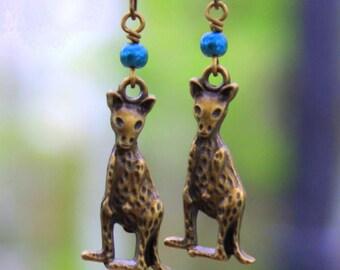 Kangaroo Earrings Rustic Brass Roo Earrings Bohemian Kangaroos Wallaby Earrings Aqua Pearl Earrings Australian Animal Lover Jewelry