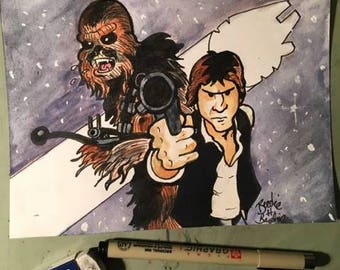 Han Solo and Chewbacca - pen and ink and watercolor