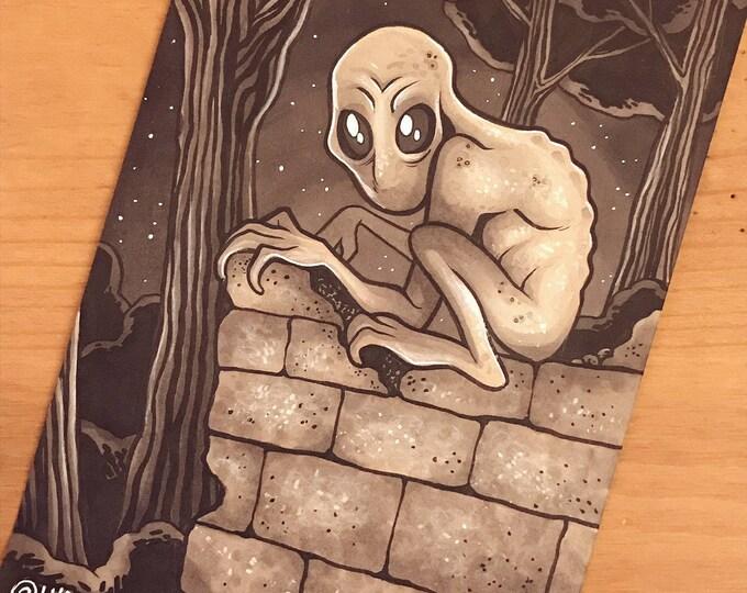 Cryptid Inktober 2017 Illustration - Dover Demon