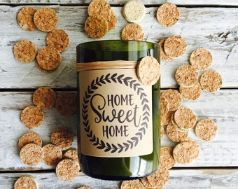 Home sweet home  ....Candles made out of recycled wine bottles