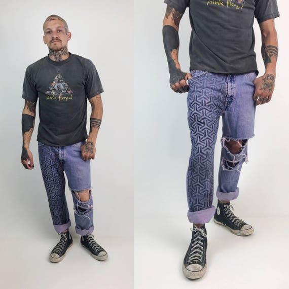 Men's Levis Jeans 33x32 Pastel Purple Hand Painted Jeans - Holey 90s Distressed Mens 90s Levis - Colored Denim Painted Leg Grunge Streetwear