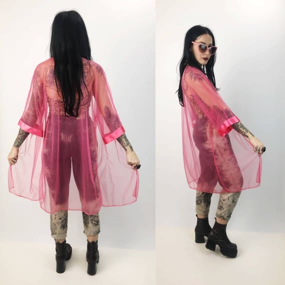 80's Pink Sheer Layering Cover Up Top - See Through Long Romantic Open Layer Vintage - Sheer Sexy Lingerie Layer Mesh Open Front Mesh Top