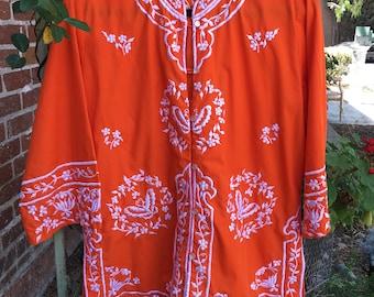 D'Palms Nehru Jacket--D'Palms Jacket--Vintage Embroidered Jacket--Vintage Orange Nehru Jacket--1970s--1960s