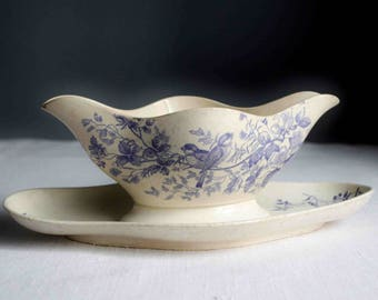 French antique blue lavender transferware ironstone sauce boat, birds and flowers gravy boat