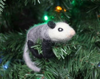 Needle-felted Opossum Christmas Ornament