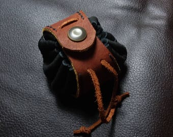 Black and Brown Snapping Leather Pouch