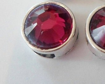 1 Small 9mm  Ruby Red  Genuine Swarovski Crystal Slider for 5mm flat Leather, 6mm flat leather,