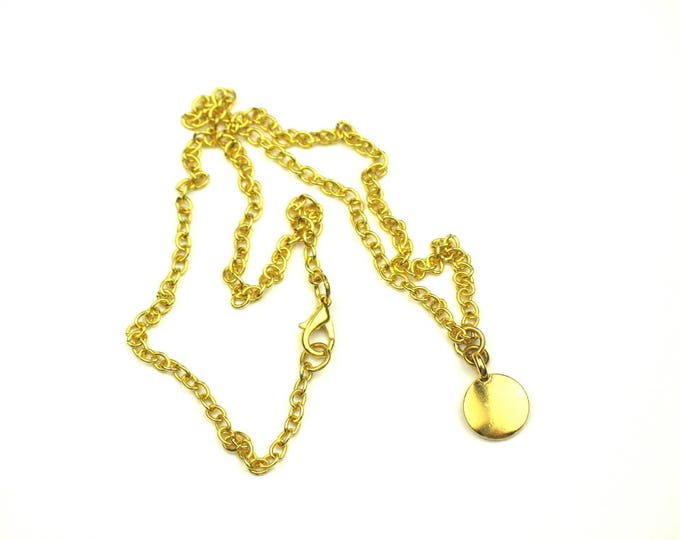 Minimalist Charm Necklace in Gold Plated Link Chain with TierraCast Gold Disc
