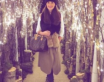Black  hat with Fur Pom Pom, hat with Fur Pom Pom,FREE SHIPPING Christmas gift ideas,beanie, cap