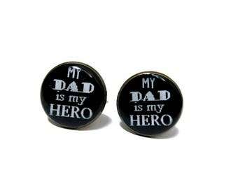 WEDDING CUFFLINKS - Father Of The Bride - My Dad iS My Hero - Cufflinks - Gift for father -  Keepsake - Father's Day - Gift for dad