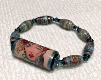 Steampunk Lady Paper Bead Bracelet