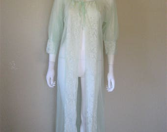sheer Mint Green vintage robe coverup / vintage lingerie