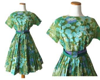 50s Floral Dress 1950s Watercolor Full Skirt Day Dress Green Blue Size Medium M Mid Century Retro Mad Men Garden Flower Dress