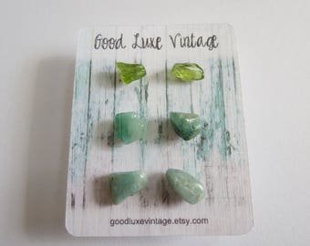 Crystal Earring Set Studs Peridot Amazonite Emerald Green Birthday Gift Natural Druzy Gemstones Nickel Free Boho