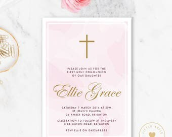 Girl First Holy Communion Invitation Printable / Girl Confirmation Invite / Cross
