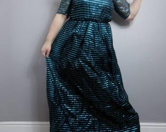 Disco maxi dress / metallic evening dress / studio 54 / black and metallic blue striped evening dress / electric blue / unique party dress
