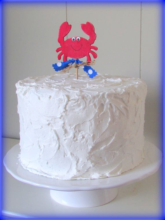 Crab Cake Topper Nautical Cake Topper Crab Birthday Cake Topper