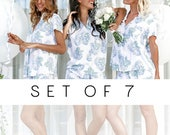 SET OF 7 - 20% Disc - Maggie Pajama Set of 7 - Hydrangea Blue - Code: P043 + P005