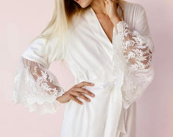 Josephine Lace Bridal Robe, Ivory Tulle Lace, Bridal Robe - P144
