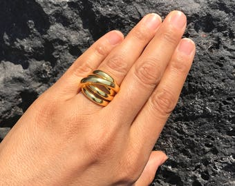2 STYLES Large Vermeil Orbit Statement Rings