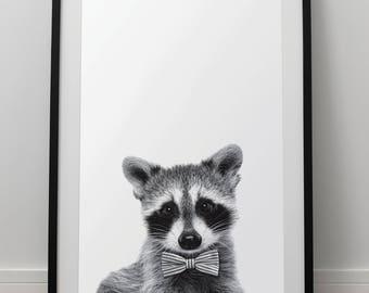 Bowtie Raccoon Print - Forest Animal Wall Art, Digital Download, Raccoon Poster, Animal Portrait, Black And White, Woodland Nursery