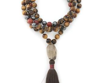 Tiger Eye Mala with Hemtatite & Red Jasper, 108 bead mala, silk tassel, hand-made